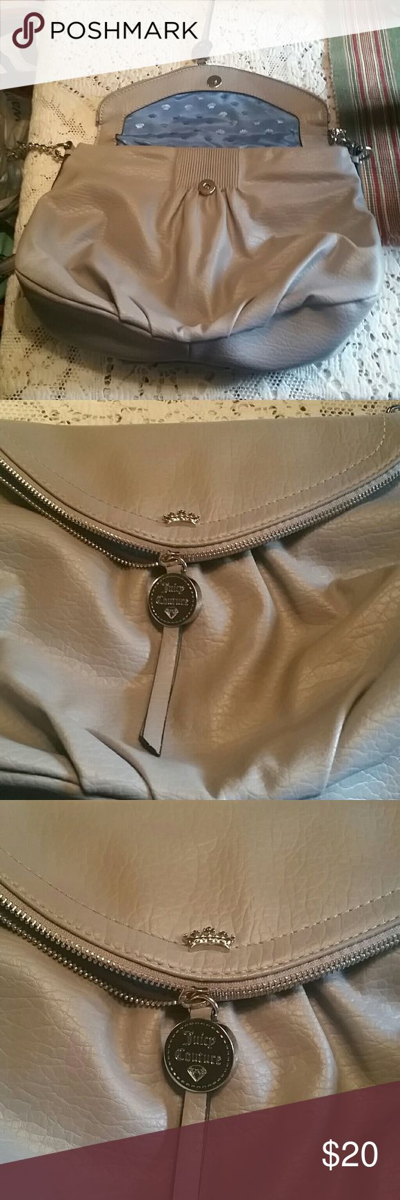 Women's handbags (nwot ) Black poly outside with blue satin lining. The fold over flap has a zipper pocket.  Also there is a pocket on the outside with magnetic closure.  The fold  over flap has magnetic closure. Juicy couture Bags