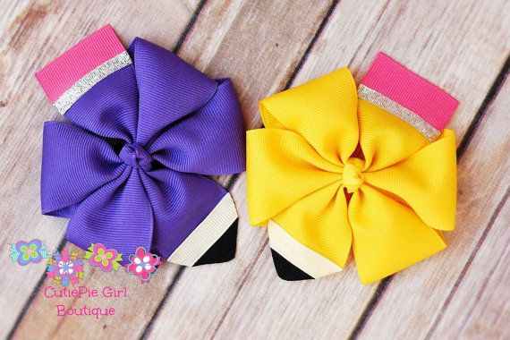School hair bows, girls bow, choose your color, back to school, fall pinwheel bow, pencil bow,  red, yellow bow