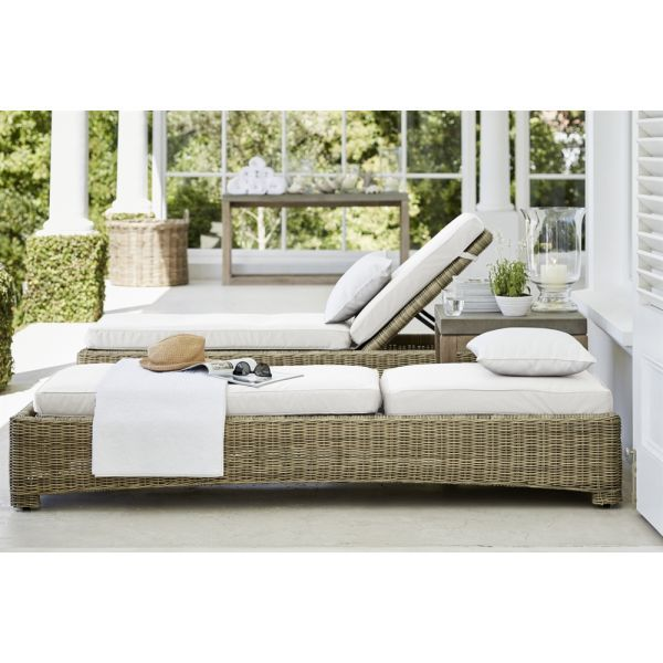 These gorgeous Murano sunloungers are made from outdoor wicker - a synthetic product that looks exactly like natural rattan weave. The frames are constructed from aluminium that is powder-coated and welded together to produce strong long-lasting frames. The backs can be raised for sitting, or lowered completely flat.