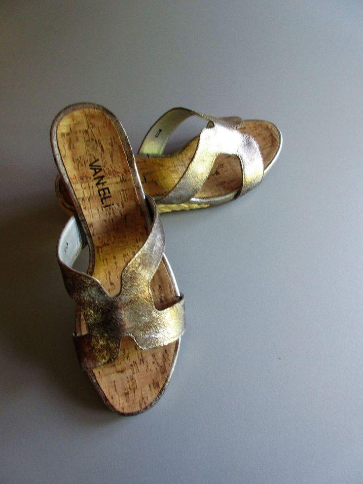 """VANELI KALLITA Metallic Pewter Sandals  6 ½ B  Slides 1"""" ¾ heel #Vaneli #Slides #Casual"""