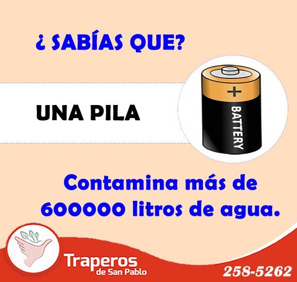 #Sabíasque La mayoría de las pilas terminan en los basureros y luego sus residuos llegan al agua subterránea, poniendo en peligro nuestra flora y fauna además de nuestra salud, aprendamos a desechar o reciclar pilas para que esto no suceda. TRAPEROS DE SAN PABLO comprometidos con la protección del planeta. ¡Recogemos tu reciclaje a domicilio! #TraperosDona #ReciclayAyuda Contáctenos : (01)258-5262 - 943 520 010 http://traperosdesanpablo.org/que-donar