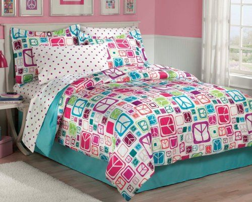 Retro peace sign comforter set in multicolors Twin Set includes: comforter, one standard sham, flat sheet, fitted sheet, one standard pillowcase and bedskirt Easy-care, machine washable polyester microfiber fabric