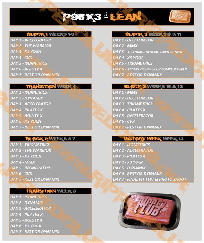 P90X3 Lean Schedule                                                                                                                                                     More
