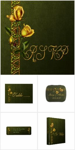 Golden Roses Wedding Collection  *An elegant design: A border of Celtic knots in rust and green metal texture, golden roses threaded through the border. All on a deep green velvet background. You will find this design on all the paper products you need for the perfect wedding: invitations, save the date, RSVP and thank you cards with matching postage stamps and envelopes. Save the date stickers and magnets, return address labels, Avery binders and more.Explore this Amazing Set Today !