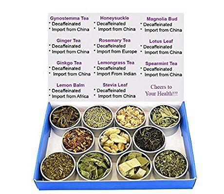 Chinese Tea Culture  Tea Sampler - Herbal Tea - Lemon Balm - Ginger - Lotus - Honeysuckle - Ginkgo - Gynostemma - Lemongrass - Mint - Rosemary - Stevia - Decaffeinated - Gift Box - Tea - Loose Tea  From Amazon