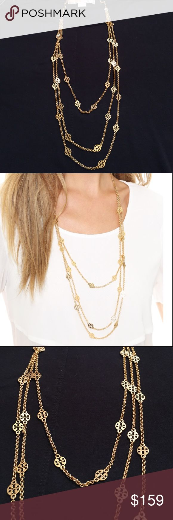 """🆕Tory Burch Multi Strand Logo Gold Necklace. NWT Multi strand Logo necklace features tiny signature Double-T charms, layered on polished gold chains. Great for a casual look or for dress up. Subtle yet elegant. Comes in original TB velvet blue pouch. New, with tag, never worn. Presently on Tory Burch website for $195.00. Length: 34"""" total length. Tory Burch Jewelry Necklaces"""