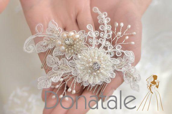 EMILY -  Bridal Headpiece Bridal Hair Flowers Ivory  Flower Pearl Hair Comb Lace Headpiece Flower Clip Rustic  Ivory Hair Flowers UK