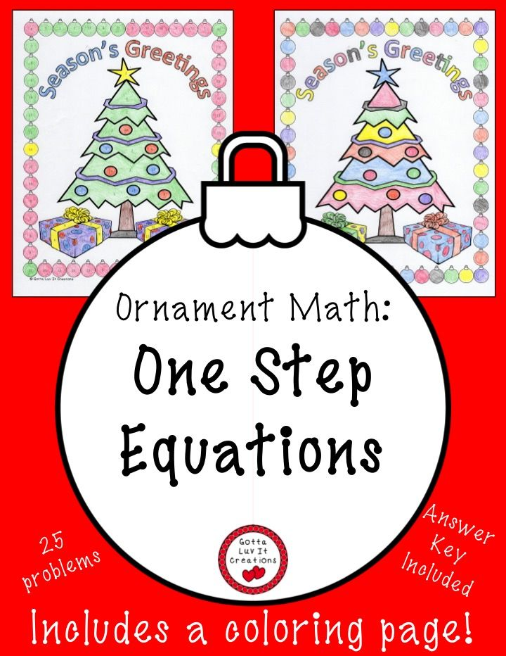 One Step Equations:  This product includes 25 math problems and 10 different colored versions of a Christmas coloring page.  This product can be purchased for the following math concepts:  Distributive Property (no negatives), & Distributive Property (with negatives).