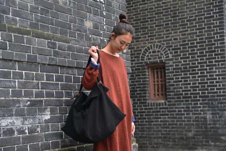 Дизайн черный трикотаж большой мешок осень женщины сумочка наплечная сумка дамы большие сумка тоут купить на AliExpress