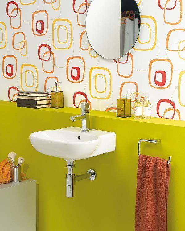 31 best papel pintado para el ba o images on pinterest bathroom bathrooms decor and bathroom - Papel para bano ...