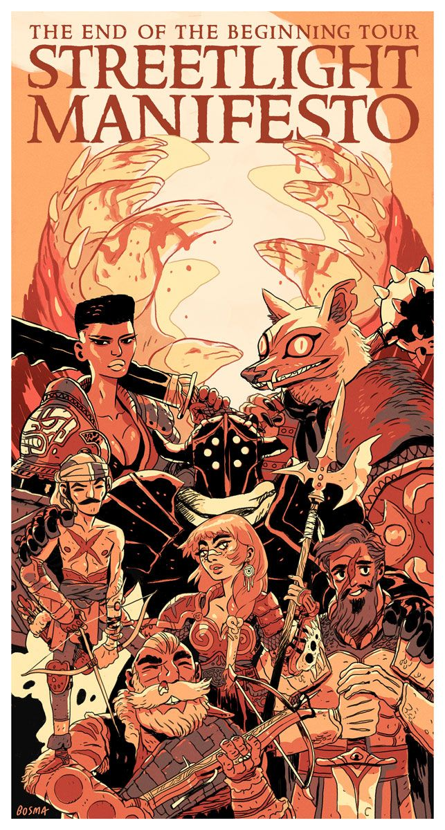 1 March 2013    2,278 notes        illustration      art      Artists on Tumblr      gaming    I did the poster artwork for Streetlight Manifesto's next (and final) tour. They wanted something featuring a bunch of warriors at the end of their journey, and obviously, I was very happy to help them out with that. I got to combine some of my favorite tropes of 80's fantasy (Grace Jones look-alike included) with some Final Fantasy with some D