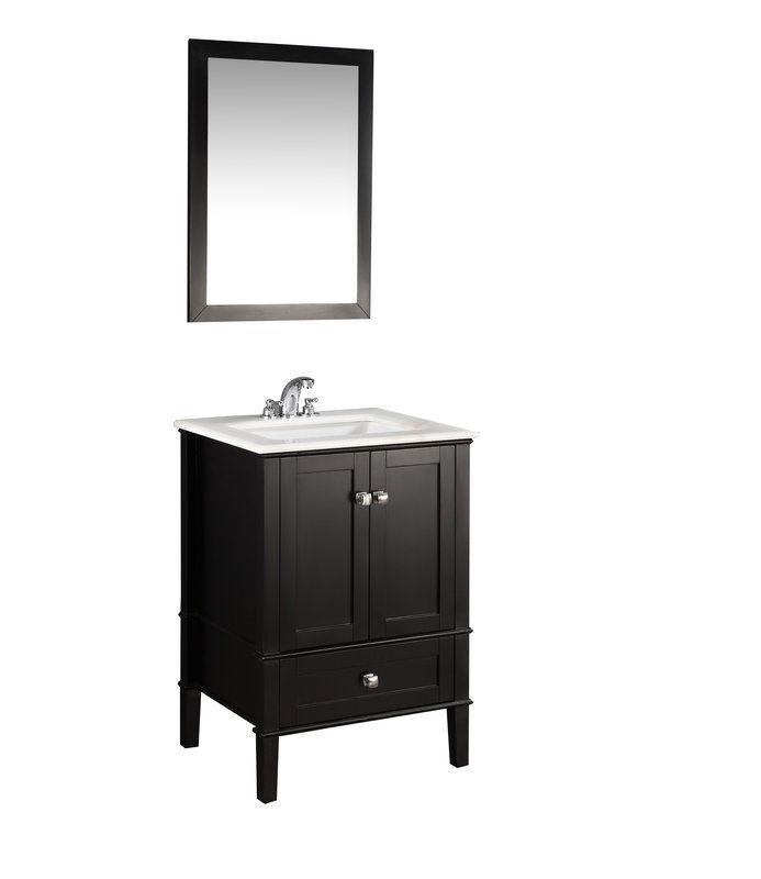 "Simpli Home NL-ROSSEAU-ES-24-2A Chelsea 24"" Bathroom Vanity Cabinet - Includes Countertop and One Sink"