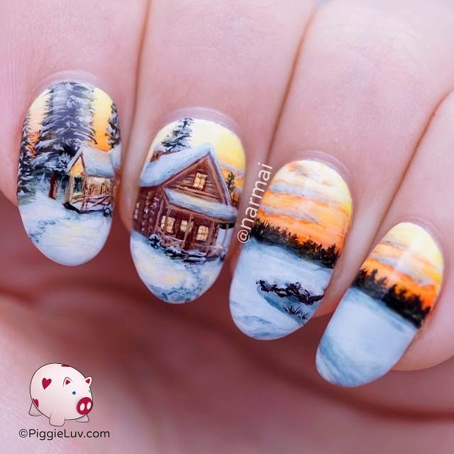 Ahh I've missed doing freehand landscapes! Come enjoy some hot cocoa in my cosy cabin after a long icy trek through the snow! I recorded a tutorial to show you how I build up nail art design such as this ;-)