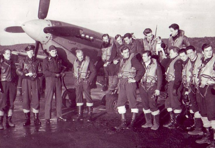 Most of 332 Squadron pilots at North Weald, winter of 42-43.