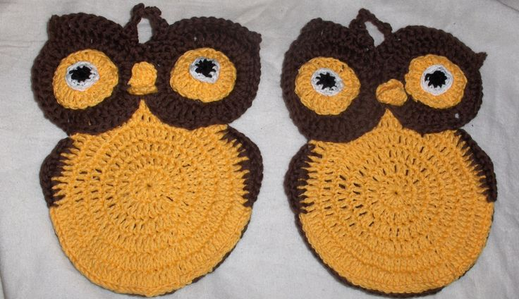 Owl potholder, crocheted pot holder, easter pot holder, crochet owl, owl decor. easter decor, ready to ship by Hildescrochetshop on Etsy
