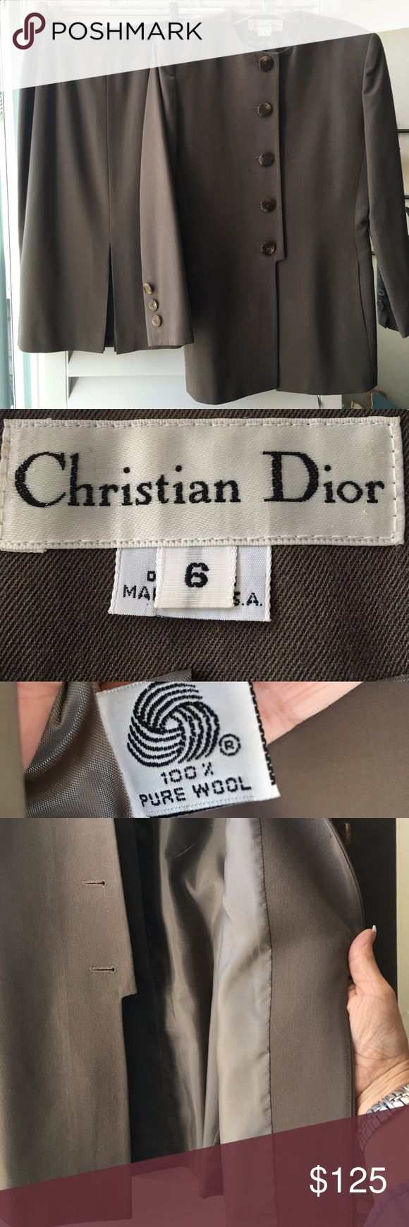 Fabulous CHRISTIAN DIOR Suit! CHRISTIAN DIOR!! Size 6. Gorgeous 100% wool, Made in the 🇺🇸USA🇺🇸, a rich taupe color! Fully lined. Kick pleat is styled in front of the skirt for extra wow.  Worn a couple of times, this suit in beautiful condition! Purchased from the designer salon at Nordstrom. 😍😍😍 Christian Dior Jackets & Coats