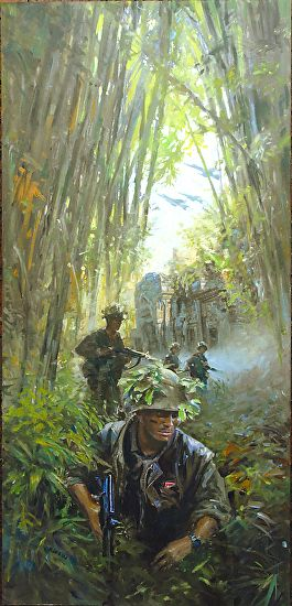VIETNAM JUNGLE by James V Griffin Oil ~ 24 inches ( 61cm ) x 8 inches