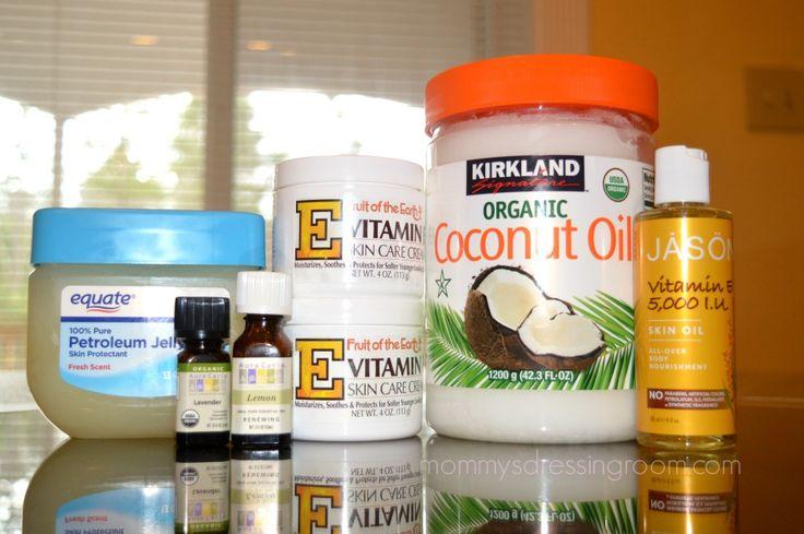 eczema-remedy: 1c coconut oil 14 drops lemon oil 12 drops lavender oil 13oz container Fresh Scent petroleum Jelly 8oz Vit E cream 4 drops Vit E oil