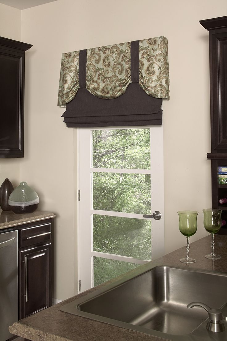 Stage Coach valance over mock roman shade adds interest to exterior door (closed) & 15 best Swing Door Solutions images on Pinterest | Sheet curtains ...