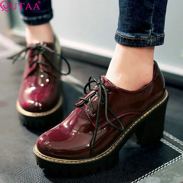 Cheap shoes nicke, Buy Quality shoes lime directly from China shoes youth  Suppliers: VALLKIN Lace Up Patent Leather Woman Shoes Thick High Heel Ankle  Boots ...