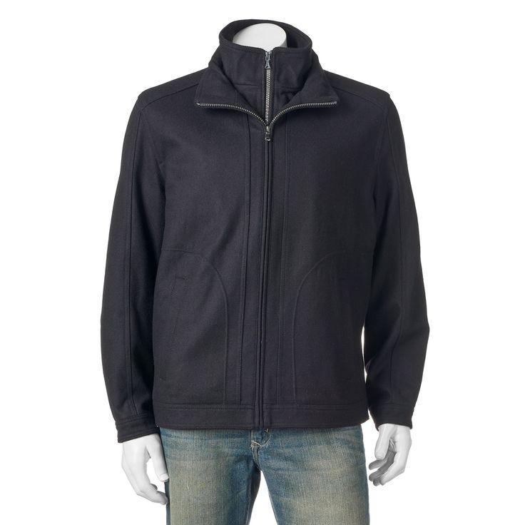 Big & Tall Towne Military Wool-Blend Hipster Jacket, Men's, Size: L Tall, Black