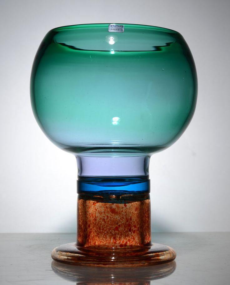"KAJ FRANCK Large Mid Century Modern ART-GLASS Goblet Nuutajärvi ARABIA Finland | D:8-1/2"" tall x 6-1/2"" wide | eBay♥♥"