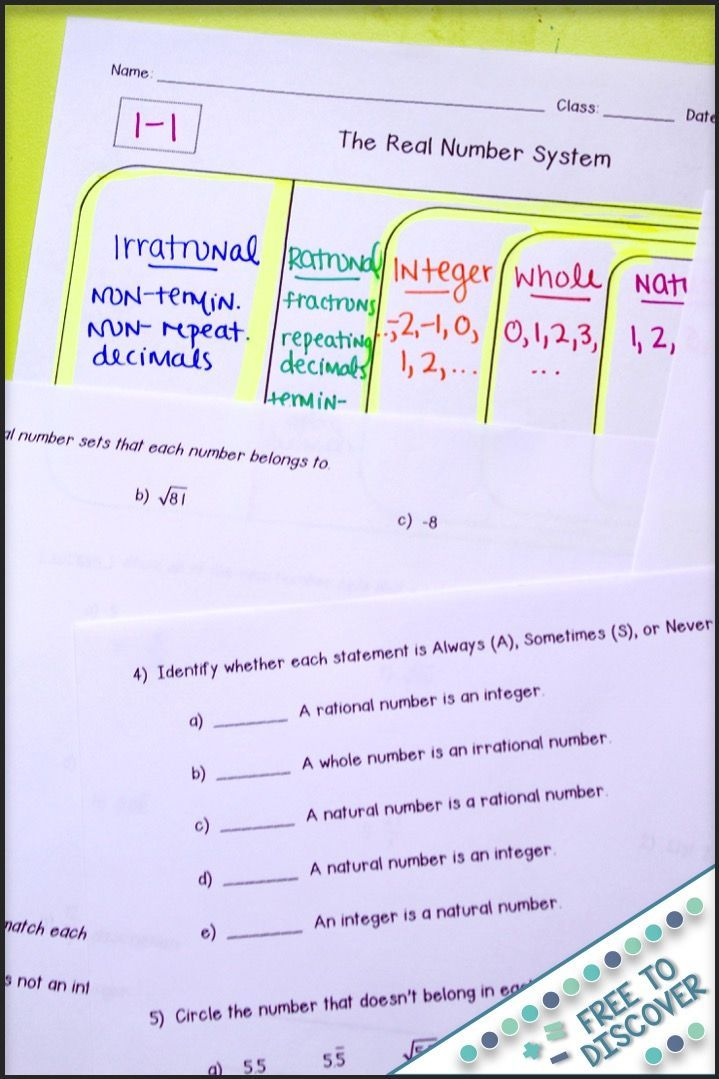 These Real Number System Notes And Practice Are Differentiated Based On Some Common Needs Found Real Number System Number System Worksheets Middle School Math Rational and irrational worksheets