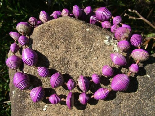 Paper Bead Necklaces   Variable shapes in one colour