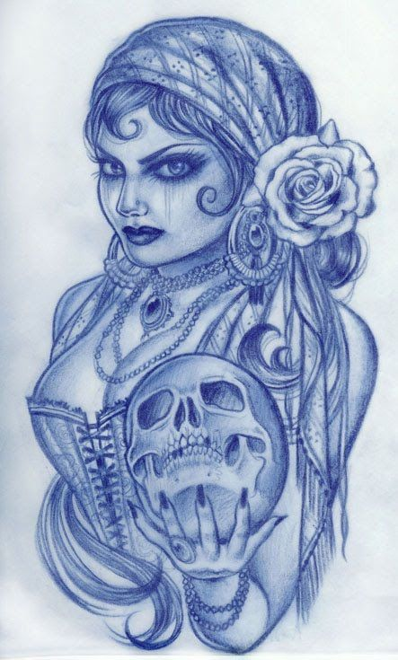 -Gypsy girls tattoo. Love this one. I'd rather have a crystal ball in both hands than a skull. And a more vintage style face and makeup, love the bustier.