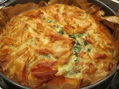 Spinach and feta pie baked in a springform cake tin