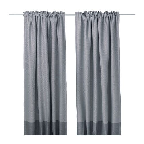 IKEA MARJUN Block-out curtains, 1 pair Grey 145x300 cm The curtains prevent most light from entering and provide privacy by blocking the view into the...