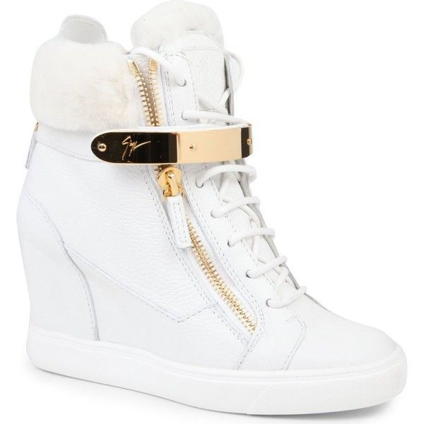 GIUSEPPE ZANOTTI Jasmine leather wedge trainers ($860) ❤ liked on Polyvore featuring shoes, sneakers, heels, wedges, zapatos, white, wedge shoes, wedge sneaker, lace up heeled shoes and white shoes #giuseppezanottiheelswhite