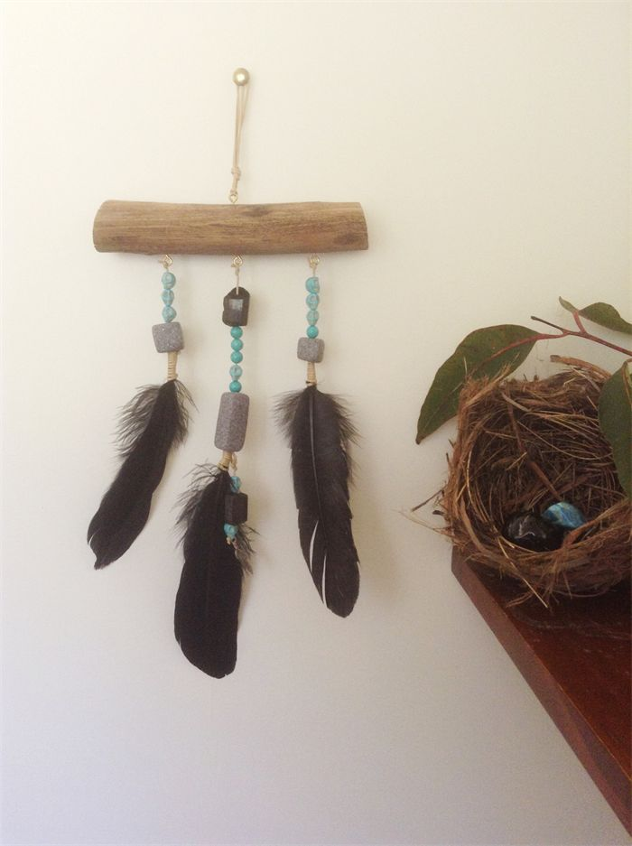 WALL HANGING boho wood dream catcher with black feathers beads & skulls. | Banjo & The Sparrow | madeit.com.au