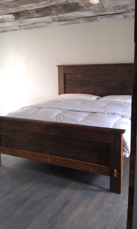 Reclaimed wood bed frame king woodworking projects plans for Recycled wood bed