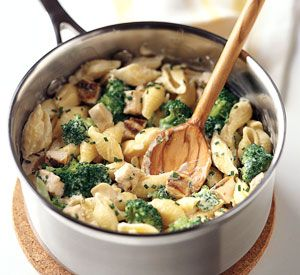 Mac and Cheese with Chicken and Broccoli Recipe | Epicurious.com   To make this dish even more decadent, add cooked chopped pancetta or cooked and crumbled smoked bacon.
