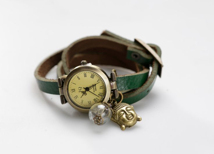 """Genuine Leather - Wristwatch, watch,""""Peaceful Buddha"""" von ZWDesign auf Etsy"""