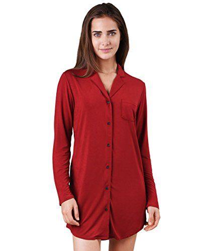 16996c04db Womens Luxury Soft Long Sleeve Collar Sleep Pajama Top With Buttons  Loungewear