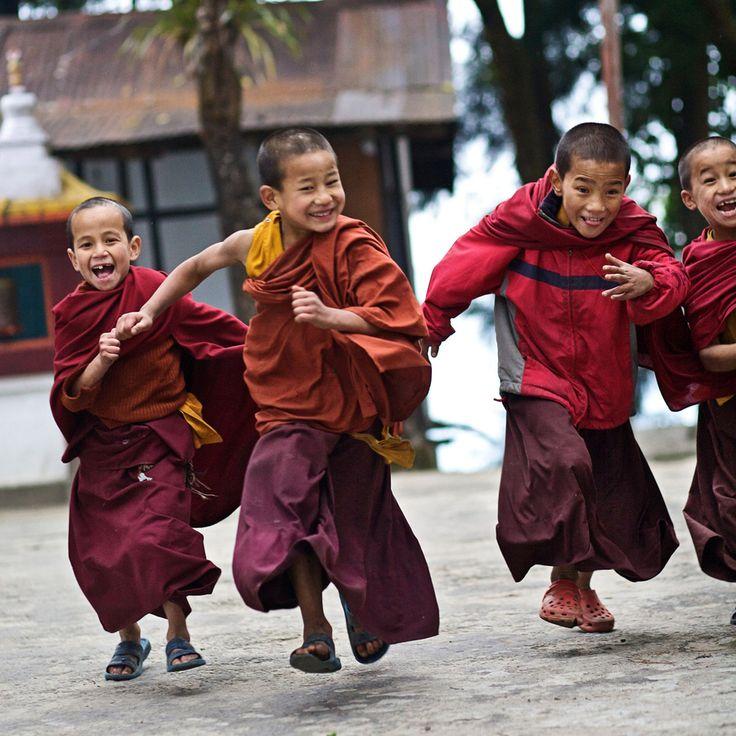 novice buddhist monks on the run, gangtok, india
