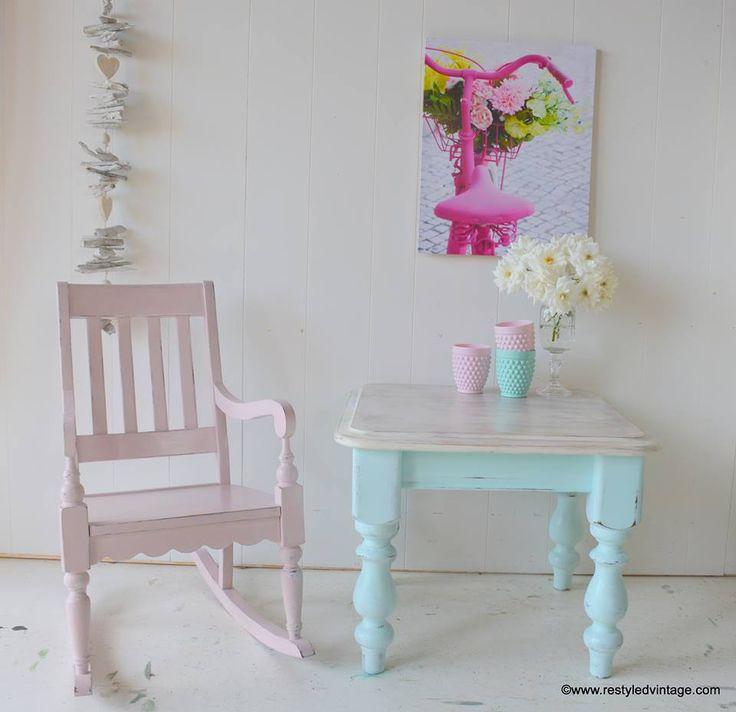 Antoinette Chalk Paint® decorative paint by Annie Sloan on a rocking chair along a side table finished in a custom mix of Pure White and a few drops of Florence | By Restyled Vintage www.restyledvintage.com