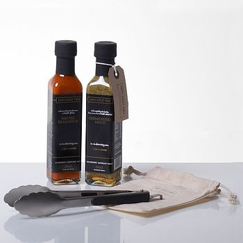 Barbeque Sauces And Tongs Gift Set
