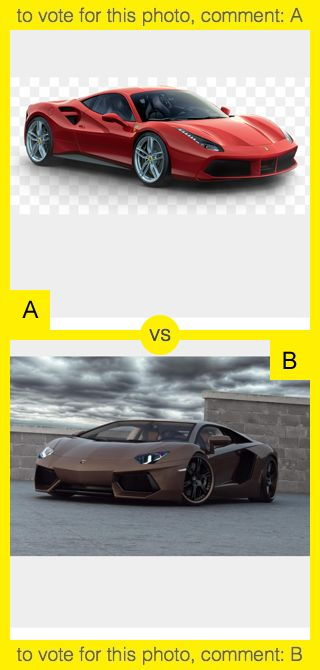 To vote for top photo comment A, to vote for bottom photo comment B. See results at http://swingvoteapp.com/#!polls/4901. Click here http://swingvoteapp.mobi/ to install Swingvote mobile app and create your own polls.