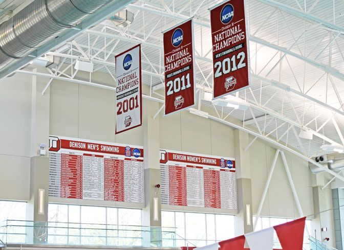 These are two huge swimming record boards for Denison University.  The men's and women's swimming program each purchased their own swimming record boards with varsity, pool, conference and national records.  The diving team also purchase a natatorium panel record board.