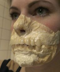 How to make an exposed teeth mask with cheap materials.--Do-able! Good directions& great photos! I'm gonna do this!