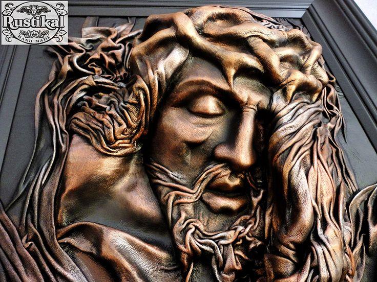 Chrystus obraz z naturalnej skóry licowej 57x76 cm. Cena 300 zł Rustikal Hand Made. Poland. Tel. +48 889-272-071