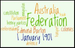 Australian Federation January 1901. What does federation mean? Why did the colonies join together? Federation timelines. Important people.
