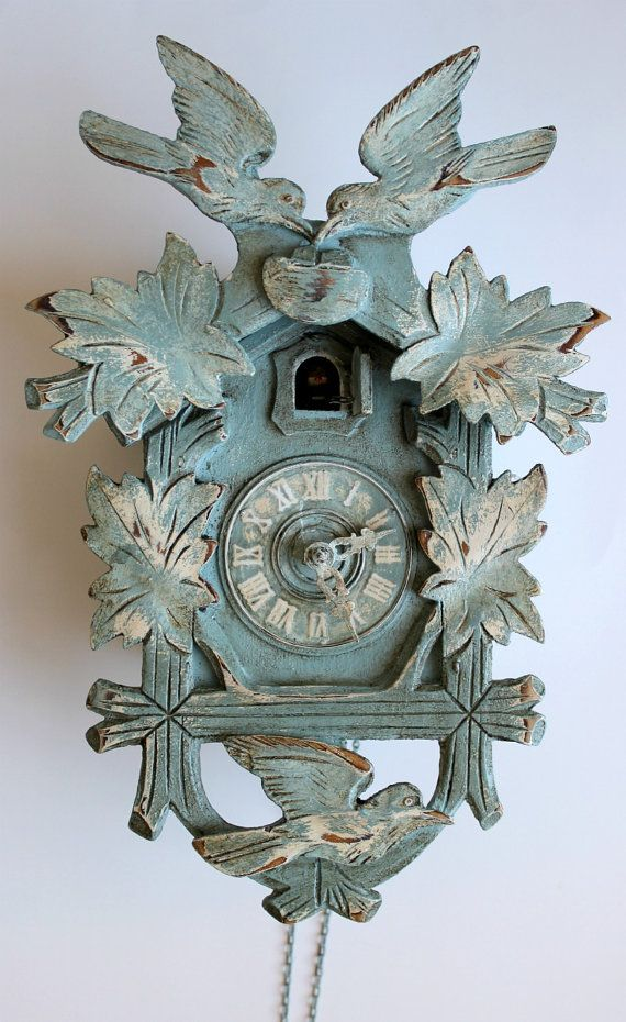 Shabby Chic Duck Egg Blue Distressed Cuckoo Clock by peintalamain, $175.00    I grew up with a cuckoo clock, and I've always just loved them! but, they're usually dark brown and never go with any decor. I really like this!! too bad it still doesn't go with my decor though...