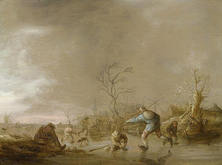 Isaac van Ostade - Winterlandschap met schaatsers (ca.1642)
