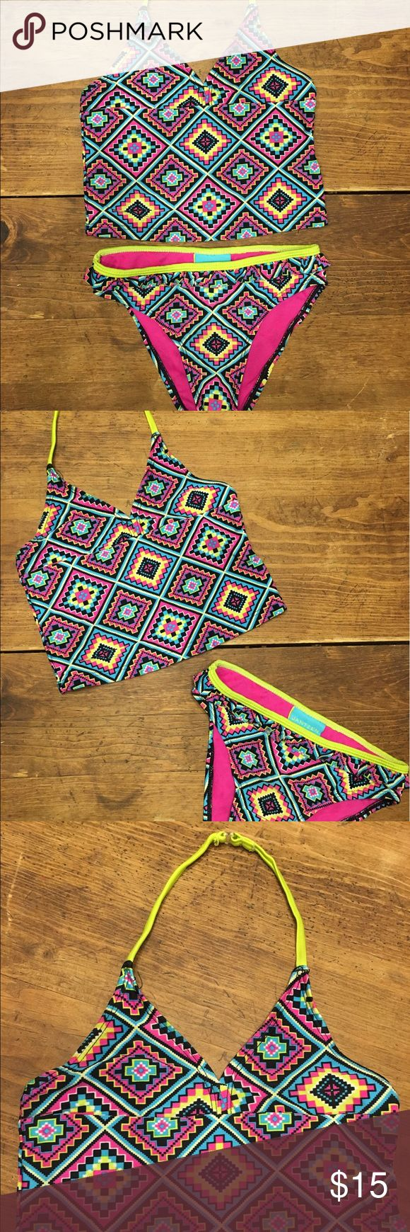 Girls Jantzen Aztec Two Piece Swimsuit Adorable tankini, in perfect condition!  No pilling, snags, or signs of wear!  Size 5. Jantzen Swim