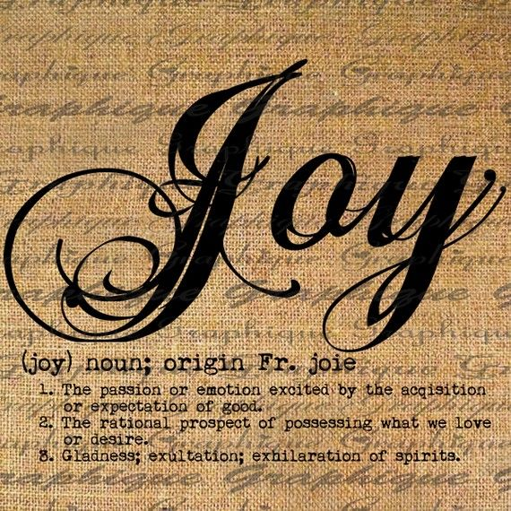 joy printable for transfer sheets - idea for tea towels or pillow