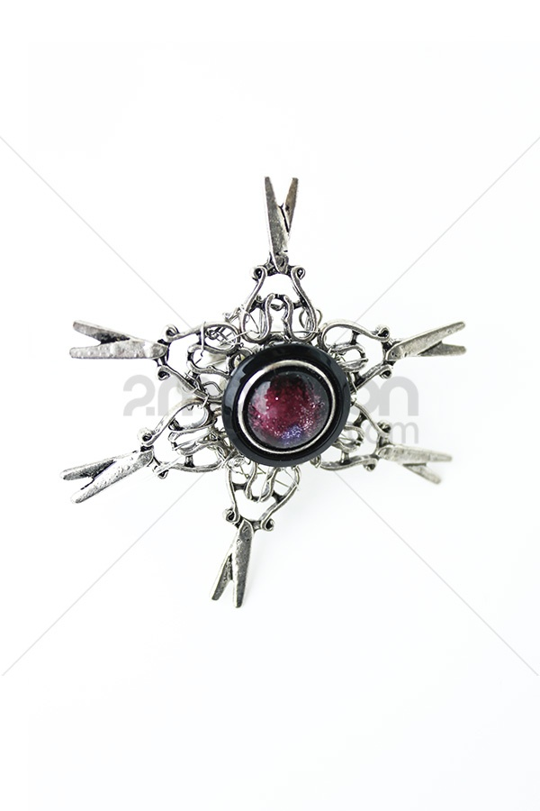 Scissor ornament, vintage button and nickel brass.  Designer : Ana Jewelry  Collection : Colorfull Rock Collection